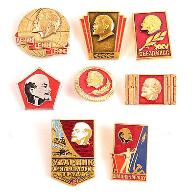 Lot of 8 Russian Soviet Pins Badge LENIN