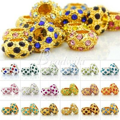 5pcs Crystal Rhinestones Rondelle European Spcer Beads Charms 12mm Findings