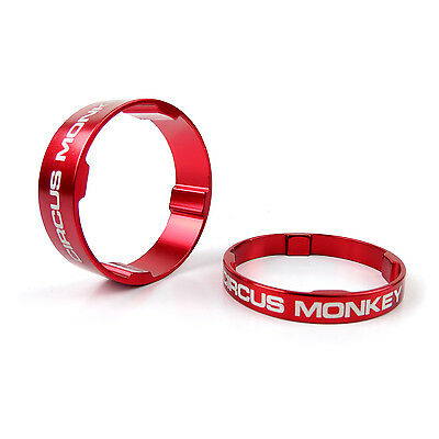 """Circus Monkey 1-1/8"""" Alloy Headset Stem Bike Spacer 5mm + 10mm (2pcs) - Red"""