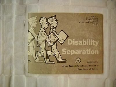 1964 - Department Of Defense Disability Separation Booklet