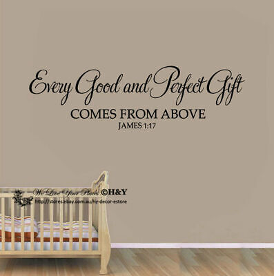 """""""Every Good and Perfect Gift"""" Wall Art Quotes Baby Nursery Decor Stickers Vinyl"""