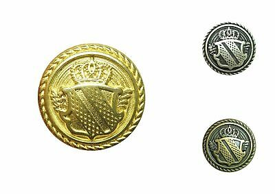 Metal Blazer Patriotic Military Shield Buttons - Gold, Antique Silver or Bronze