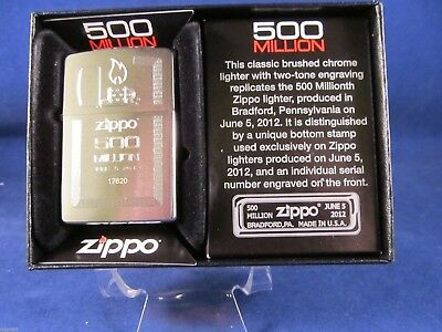 Zippo 500th Millon Brushed Chrome Engraved Commerative Lighter Mint In Box