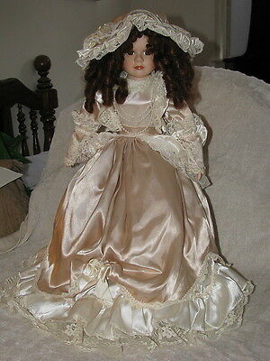 "Porcelain Dynasty Doll 23"" In Victorian Dress Satin Lace Pearls Red Hair"