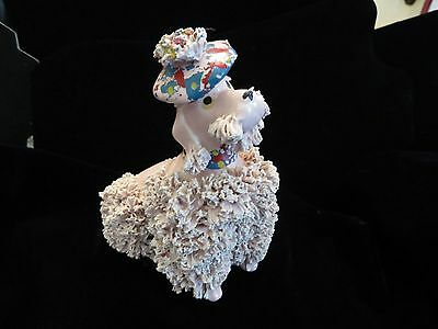 Vintage large Pink Spaghetti Poodle Figurine Matching Collar & Tam Hat