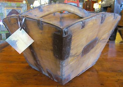 Authentic Antique Chinese Wooden Square Rice Measure, Dou Metal Hardware China