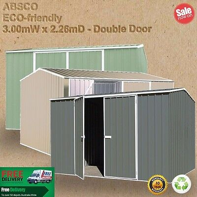 Absco Garden Shed 3mW x 2.26mD - DOUBLE DOOR