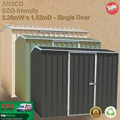 Garden Shed 2.26mW x 1.52mD PALE EUCALYPT or MERINO or WOODLAND GREY