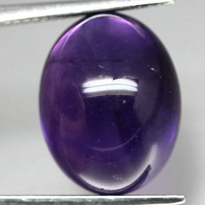 A PAIR OF 8x6mm OVAL CABOCHON-CUT DEEP-PURPLE NATURAL AFRICAN AMETHYST GEMSTONES