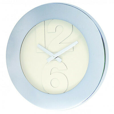 London Clock Company Contemporary Chrome Finish Round 41cm Wall Clock