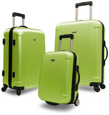 Green Traveler's Choice Freedom 3-Piece Rolling Luggage Spinner Suitcase Bag Set