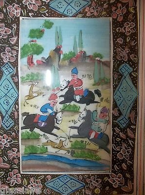 Vintage PERSIAN MINIATURE Painting THE HUNT MARQUETRY Frame