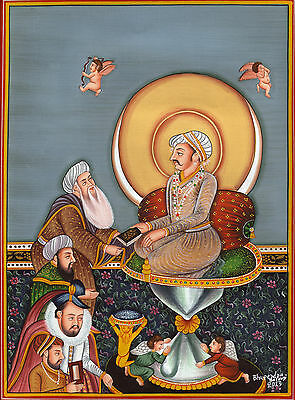 Mughal Painting Rare Handmade Moghul Bichitr Art Jahangir Enthroned on Hourglass