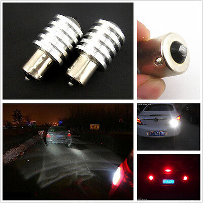 2 Pcs White 12V Car LED Turn Signal/Reversing/Brake Lights Bulb Lamp BA15S 1156