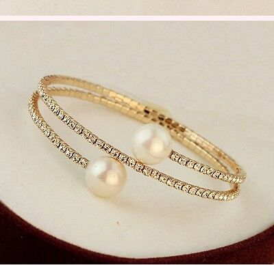 New Design Fashion Korean Rhinestone Double Pearls Sexy Gold Tone Bracelets Gift