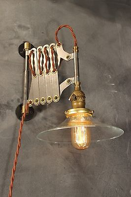 Industrial Lighting - Vintage Scissor Lamp - Accordion Sconce Light - Art Deco