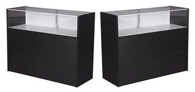 """70"""" Jewelry Showcase Counter w/Light Retail Store Display Assembled Black New"""
