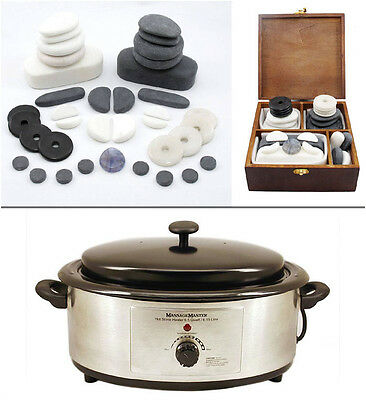 MassageMaster HOT STONE MASSAGE FACIAL KIT 37 Hot & Cold Stones + 6 Quart Heater