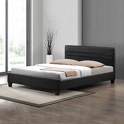 Denny Simple Modern PU Leather Double/Queen Size Bed Frame with Slats