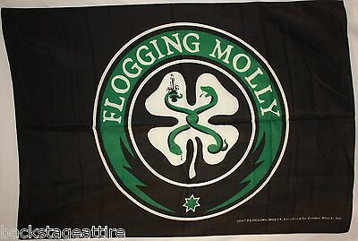 FLOGGING MOLLY Shamrock Black Cloth Fabric Textile Poster Flag Tapestry-New!