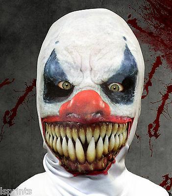 Scary Demon Clown 3D Horror HALLOWEEN Face Mask Fabric Grim Reaper Fancy Dress