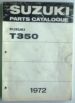 SUZUKI T350 T350-II T350R T350J Illus Motorcycle Parts Catalogue/List 1972