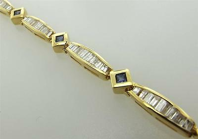 14Kt Yellow Gold 4.00 Cttw Diamond Sapphire Tennis Bracelet 7 Cert 19B 999-10054