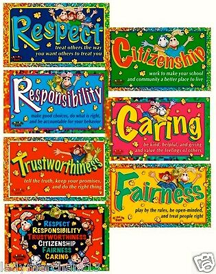 """THE SIX PILLARS OF CHARACTER POSTERS/Set of 7/Colorful/All new! 23"""" X 17"""" GREAT!"""