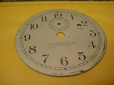 """Vintage Chelsea Clock Company 3-3/4"""" Replacement Silver Colored Dial F-S Ad E260"""