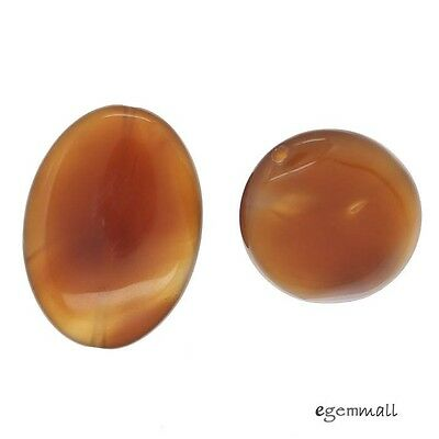 4 Large Red Carnelian Agate Oval Pendant Beads 22x30mm #54125