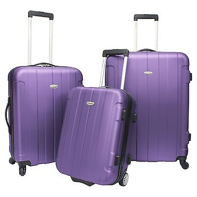 Traveler Choice 3-Piece Purple Rome Hardside Lightweight Spinner Luggage Bag Set