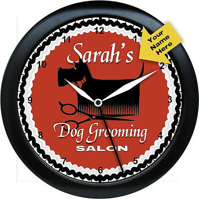 "Personalized Dog Grooming Salon Wall Clock Gift 10.75"" Gift"