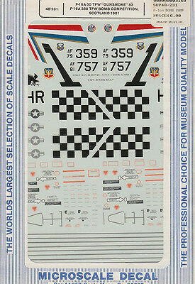 Microscale  decals 1//48 48-231 F-16A Gunsmoke 388TFW Bomb competition G1