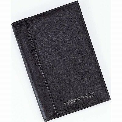 NEW Black Leather Embossed US PASSPORT COVER Organizer Travel Wallet ID Holder