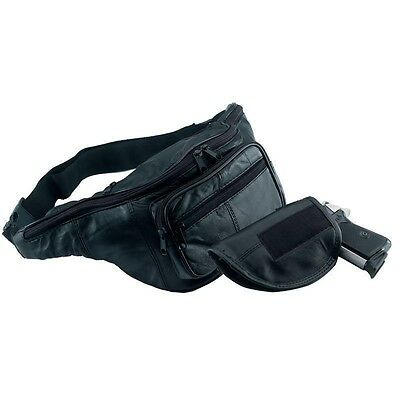 Black Solid Leather CCW Fanny Pack w/ GUN HOLSTER Concealed Carry Waist Belt Bag