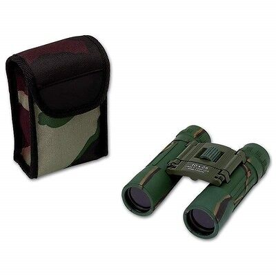 New Compact CAMO 10x25 BINOCULARS w/ CASE Hunting Camping Survival Camouflage