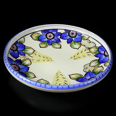 "Nippon 8.5"" Hand Painted Bowl Cobalt Blue Florals Cream Cherry Blossom Mark"