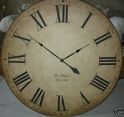 "Large Wall Clock 36"" Antique look Big Tuscan Huge Wood Personalized Oversized"