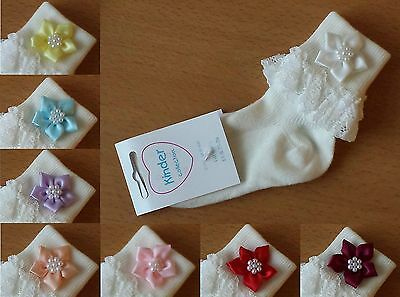 L@@K! Cute Girls Ivory Frilly Star Flower Occasion Socks! Various Colours & Sz