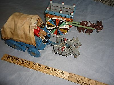 2 OLD WESTERN WAGON WITH MULE TEAM, HAND PAINTED, WESTERN COLLECTABLE, FREE SHIP