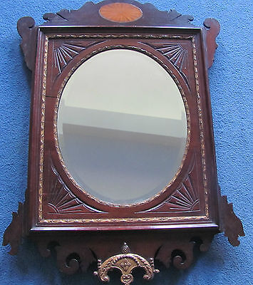 edwardian chipendale style inlaid bevel edge wall mirror