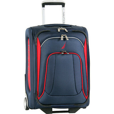 """NAUTICA CHARTER NAVY RED 20"""" CARRYON SUITCASE LUGGAGE  $340 VALUE NEW"""
