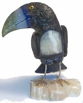 Hand-Crafted PERUVIAN GEMSTONE TOUCAN CARVING (5179)