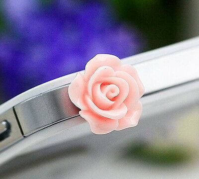 Pink 3D Pretty Resin Rose Flower Cell Phone Headset Dust Plug For iPhone/Samsung