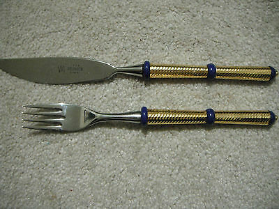 RARE Solingen Rostfrei Set Knife & Fork MADE IN GERMANY GOLD TONE HANDLE