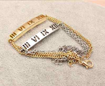 New Silver & Gold Plated Roman Numeral Thin Chain Link Bracelet Bangle Jewellery