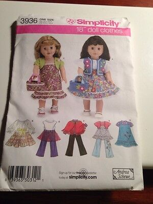 """Simplicity Pattern 3936 Sew Outfits for 18""""  AG  Size Dolls  Dress Pants Hippie"""