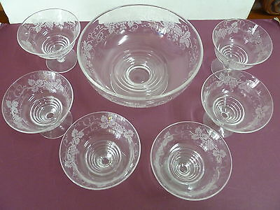 Stuart Crystal Grape & Vine Pattern Desert Set   ...