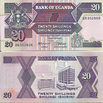 Uganda P29a, 20 Shilling, map / original Bank of Uganda  - see UV image UNC 1987
