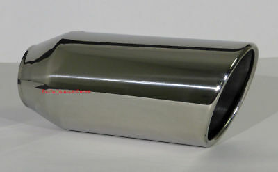 """Stainless Steel Exhaust Tip Rolled Angle Cut - 2.5"""" In - 4"""" out - 9"""" Long"""